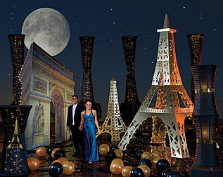 night in paris party theme props