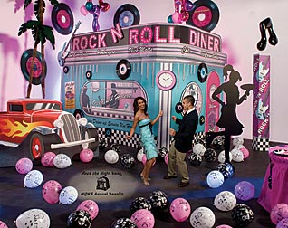 rock around the clock with a rock the night away 1950 s prom prom ideas event ideas decorations. Black Bedroom Furniture Sets. Home Design Ideas